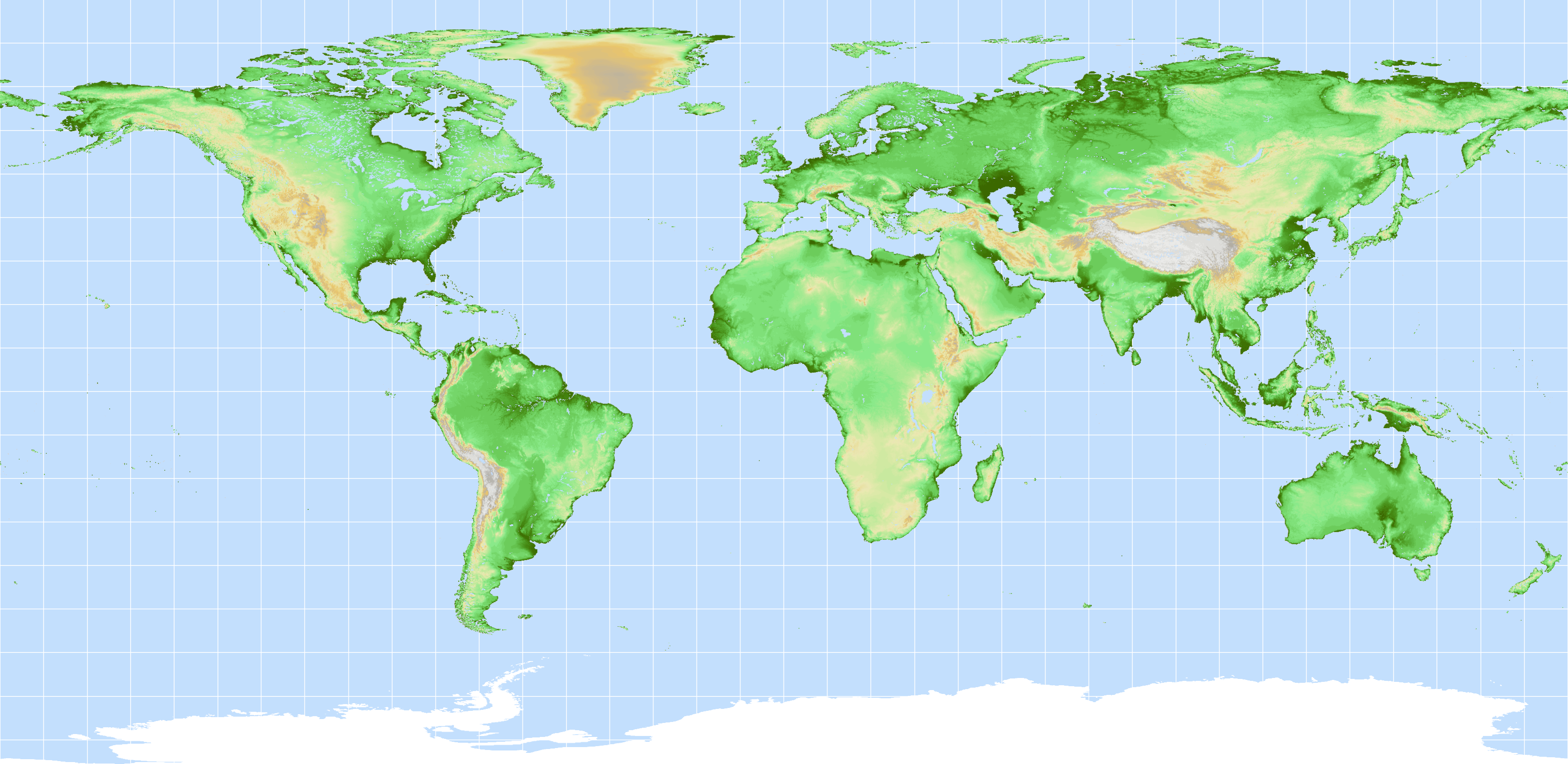 Forest Observations - World elevation map